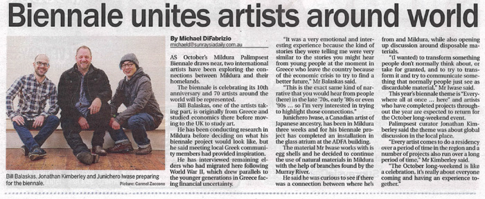 2015.08.10 - Biennale Unites Artists Around World - Sunraysia Daily - Web
